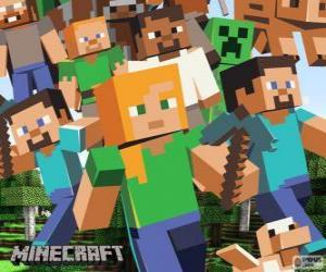 Puzle Několik znaků z Minecraft
