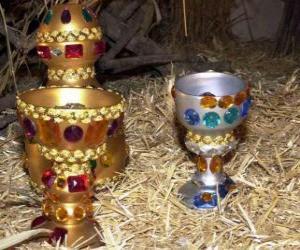 Puzle Nabídky tří králů, zlato, kadidlo a myrhu, aby Jezulátka