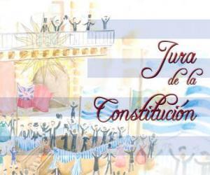 Puzle Nadávky ústavy Uruguay. Každoročně v červenci slaví 18 přísahu první národní ústava 1830