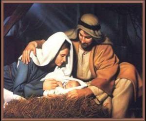 Puzle Narození Krista - Jezulátka s Marií, jeho matka a jeho otec Josef