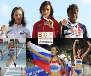 Puzle Natalia Antiuj 400 metrů překážek šampion, Vania Stambolova a chvění-Drayton Perri (2. a 3.) z Mistrovství Evropy v atletice Barcelona 2010
