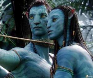 Puzle Na'vi avatar Jake a  Neytiri připraven ke spuštění šipky