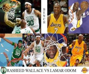 Puzle NBA finále 2009-10, lavice, Rasheed Wallace (Celtics) vs Lamar Odom (Lakers)