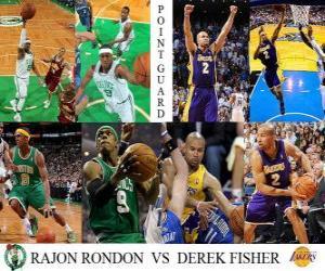 Puzle NBA Finals 2009-10, Rozehrávač, Rajon Rondon (Celtics) vs Derek Fisher (Lakers)