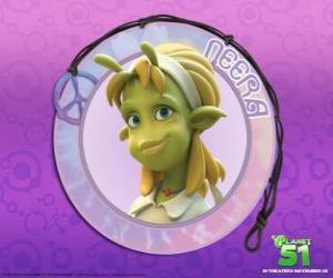 Puzle Neera je typická holka, chytrá, krásná zelená kůže s atraktivní antény na čelo