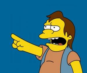 Puzle Nelson Muntz, občas přítel Bart a Lisa je ex přítel.
