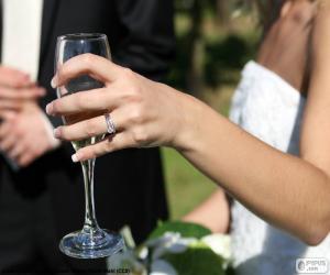 Puzle Nevěsta se sklenkou šampaňského