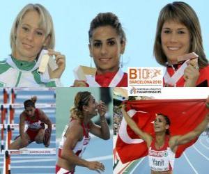 Puzle Nevin Yanit mistr v 100m překážek, Derval O'Rourke a Carolin Nytra (2. a 3.) z Mistrovství Evropy v atletice Barcelona 2010