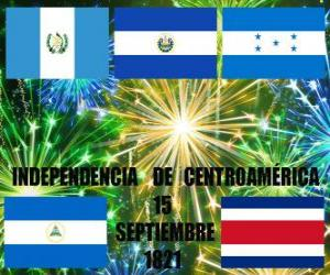 Puzle Nezávislost Střední Ameriky 15. září 1821. Vzpomínka na nezávislost ze Španělska v moderní zemi Guatemala, Honduras, El Salvador, Nikaragua a Costa Rica