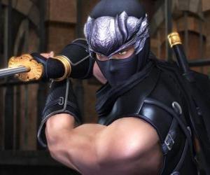 Puzle Ninja bojovníka s mečem v ruce
