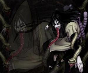 Puzle Ninja Orochimaru s hady jako součást svého těla po různých obměnách