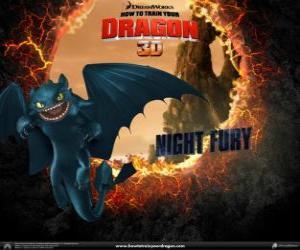 Puzle Noční Fúrie, nejvzácnějších a nejvíce inteligentní drak