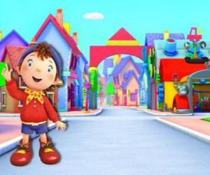 Puzle Noddy je dítě ze dřeva, která žije v malém domku v Toyland, město hraček