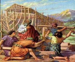 Puzle Noe postavil svou truhlu zachránit z univerzální povodňové vyvoleným