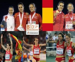 Puzle Nuria Fernandez šampion v 1500 m, Hind Dehiba a Natalia Rodriguez (2. a 3.) z Mistrovství Evropy v atletice Barcelona 2010