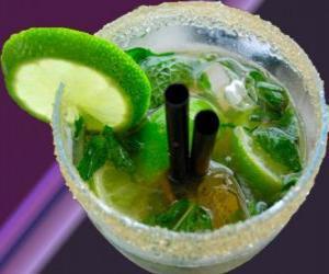 Puzle Oblíbený koktejl mojito je rodák z Kuby, z rumu, cukru (nebo cukr sirup), limetka, máta, nebo máty a perlivá voda.