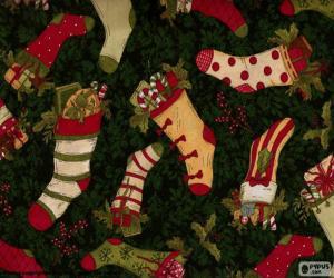 Puzle Obrázek vánoční punčochy a boty