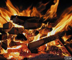 Puzle Oheň v krbu