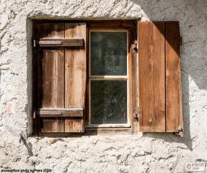Puzle Okna s okenicemi, dřeva