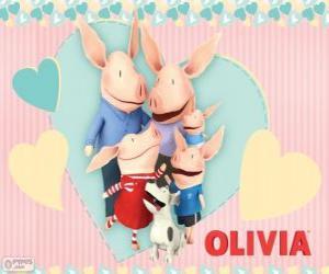 Puzle Olivia selátko s rodinou
