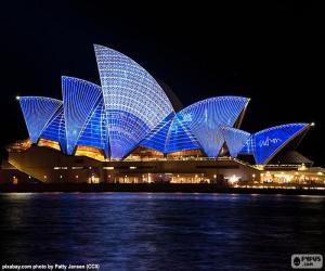 Puzle Opera v Sydney v noci