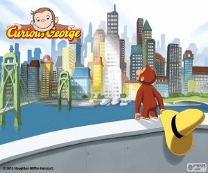 Puzle Opice George a město
