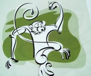 Puzle Opice, znamení opice, Rok opice v čínské astrologii. Devátý z dvanácti zvířat 12-letý cyklus čínského zvěrokruhu