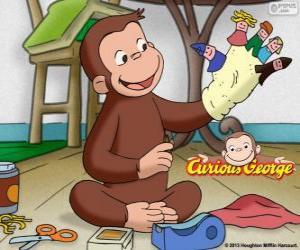 Puzle Opice zvědavý George dělá loutky
