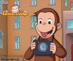 Puzle Opice zvědavý George s kamerou