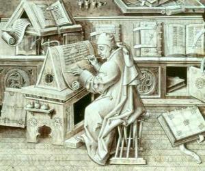 Puzle Opisovač mnich práci s perem a inkoustem na pergamenu nebo papíru v scriptorium
