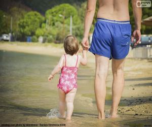 Puzle Otec a dcera na pláži