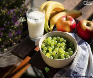 Puzle Ovoce a mléko