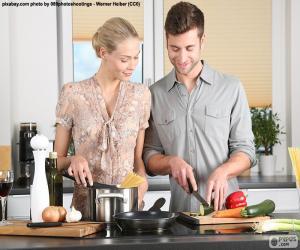 Puzle Pár v kuchyni