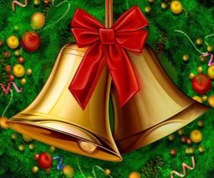 Puzle Pár zvonky Vánoce se stuhou