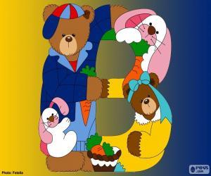 Puzle Písmeno B medvěd