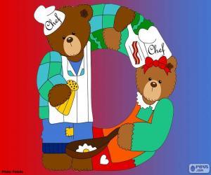 Puzle Písmeno D medvědů