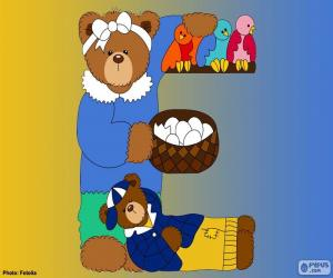 Puzle Písmeno E medvěd