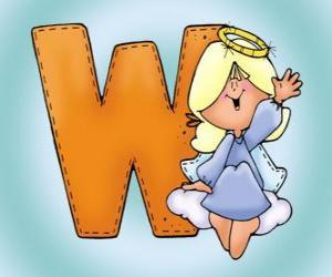 Puzle Písmeno W s andělem