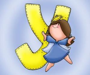 Puzle Písmeno Y s andělem