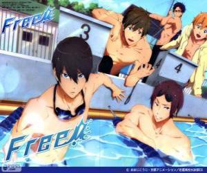 Puzle Pět protagonisté Free! Rin, Haruka, Nagisa, Rei a Makoto