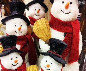 Puzle Pět sněhuláci