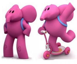 Puzle Příjemný Slon je nejsilnější Elly a vždy pomůže jeho přátelé