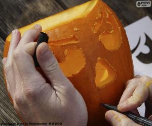 Puzle Příprava dýně Halloween