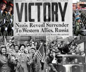 Puzle Připomínat vítězství spojenců nad nacismem a ukončení druhé světové války. Den vítězství, 08.05.1945