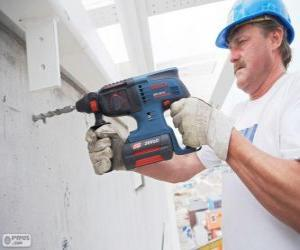 Puzle Připraven k práci s vrtací údržbář