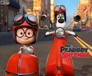 Puzle Pan Peabody a Sherman na motocyklu s postranním vozíkem