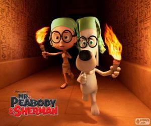 Puzle Pan Peabody a Sherman v jednom z jejich dobrodružství v Egyptě