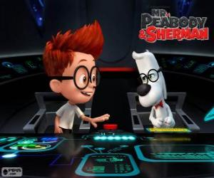 Puzle Pan Peabody a Sherman v jeho stroj času