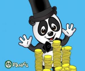 Puzle Panda velmi rádi sledujete mnoho mincí Panfu