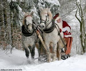 Puzle Papa Noel saně